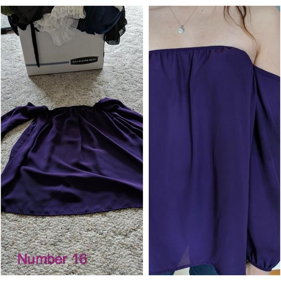 Tops - Off the Shoulder, Purple Shirt